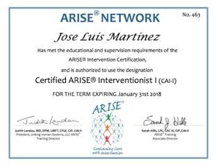 JOSE LUIS MARTINEZ obtiene el NIVEL I del Model ARISE en ADICCIONES